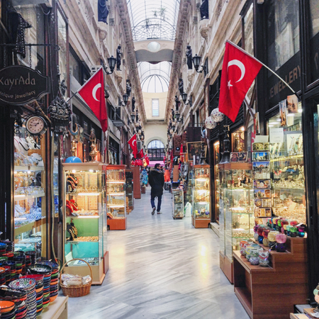 beyoglu: Istanbul, Turkey, March 12, 2015 - One of the traditional passages of Beyoglu in Istanbul