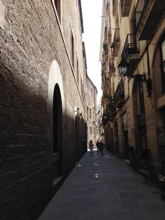 gotico: Traditional, narrow street in El Gotic district of Bacelona