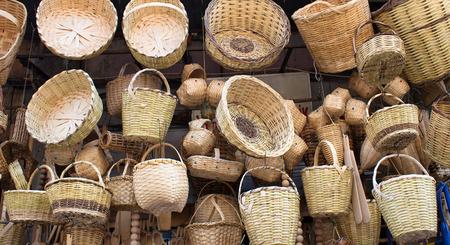 eminonu: Many handmade wooden basket in Eminonu