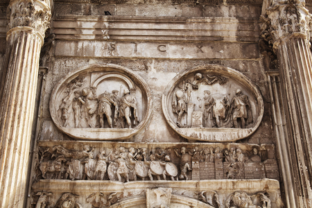 Close up view of Arco di Constantino in Rome
