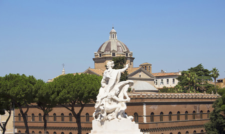 altar of fatherland: Close up view of sculpture in front of Altar od Fatherland in Rome Stock Photo