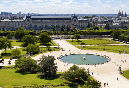 PARIS - JULY, 2016: Aerial view of Jardin des Tuileries and Orangerie Museum in Paris. People hang out around pool in the park.