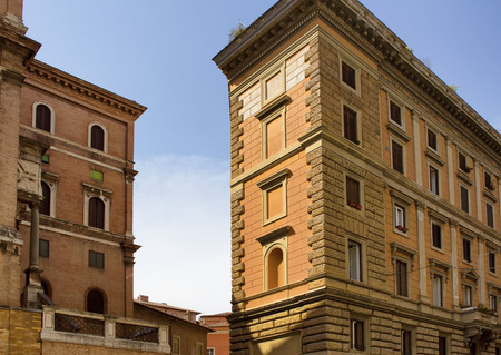 View of traditional buildings showing Italian architectural style in Rome.
