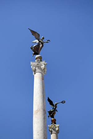 altar of fatherland: View of winged woman statues in front Altar of the Fatherland in Rome.