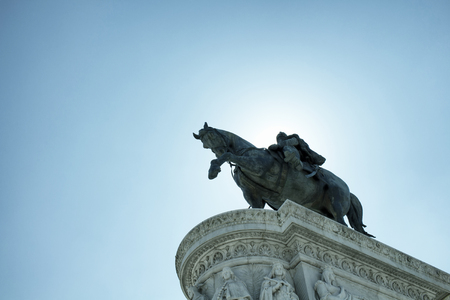 altar of fatherland: Bottom view of a statue of Vittorio Emanuele II in Rome. Grand marble, classical temple honoring Italys first king & First World War soldiers.