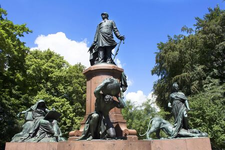 statesman: Statue of Otto von Bismarck in Tiergarten in Berlin. He was a conservative Prussian statesman who dominated German and European affairs from the 1860s until 1890.