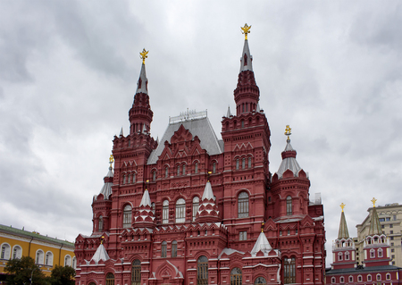 View of State Historical Museum at Red Square in Moscow. Imposing neo-Russian building of 1881, displaying prehistoric relics, Romanov dynasty art & more.