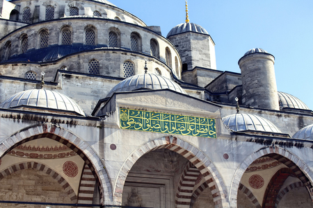 founders: Bottom view of Blue (Sultanahmet) Mosque with blue clear sky in the background in Istanbul. Well-known site built in 1616 & containing its founders tomb. Stock Photo