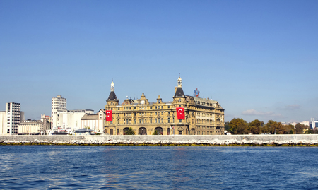 View of famous historical train terminal named Haydarpasa. Until 2012 the station was a major intercity, regional and commuter rail hub in Turkey.