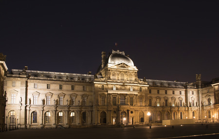 no entrance: Night view of Louvre Museum (Musée du Louvre). Former historic palace housing huge art collection, from Roman sculptures to da Vincis Mona Lisa. Editorial
