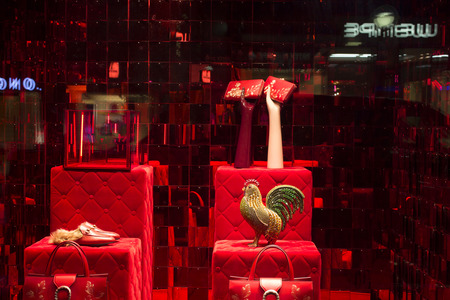 highend: Night view of famous French, luxury, high-end brands store window in Frankfurt. Editorial