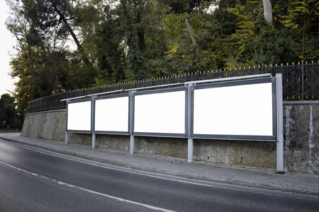 Empty / blank outdoor advertising billboards by Bosphorus in Istanbul.