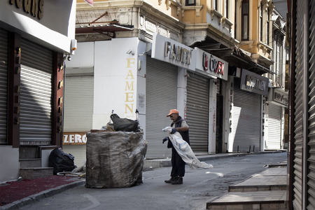 Man collects valuable garbage in Eminonu  Sirkeci area of Istanbul.