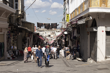 View of people at Mahmutpasa area of Istanbul near Grand Bazaar.