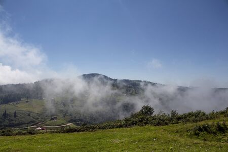 View of high plateau village, forest and mountain in fog creating beautiful nature scene. The image is captured in Trabzon/Rize area of Black Sea region located at northeast of Turkey. 스톡 콘텐츠