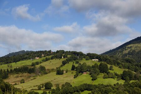 View of high plateau village, mountains and forest creating beautiful nature scene. The image is captured in Trabzon/Rize area of Black Sea region located at northeast of Turkey.