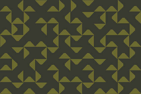 Abstract, seamless background pattern made with triangle shapes with thin lines. Green on dark green modern vector art.