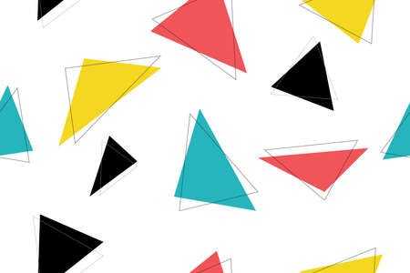 Abstract, seamless pattern made with colorful triangle shapes. Modern vector background for graphic design.