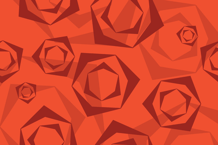 Background pattern of rose flower abstraction made with geometric shapes in different tones of red. Modern vector art.