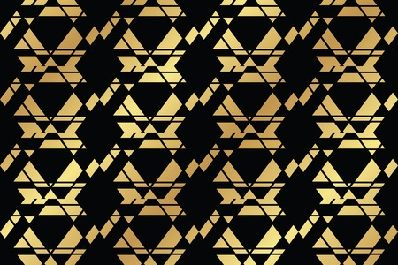 Seamless, abstract background pattern made with geometric shapes forming hexagons in gold and black colors. Decorative vector art.