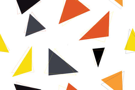 Abstract seamless background pattern made with red, yellow, black and dark grey triangle shapes. Modern, cheerful vector art.