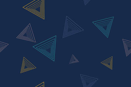 Seamless, abstract background pattern made with triangle shapes with lines in blue, yellow colors. Modern, playful vector art.