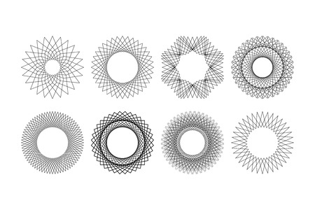 8 mandala style vector set made with repetition of geometrical shapes.
