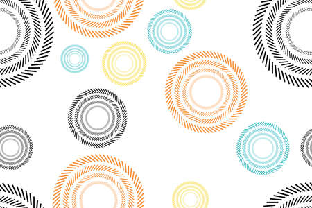Seamless, abstract background pattern made with short lines forming circles. Colorful, modern vector art.