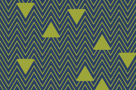 Abstract background pattern made with triangle shapes and zigzags in blue and green colors. Retro and playful vector art. Illusztráció