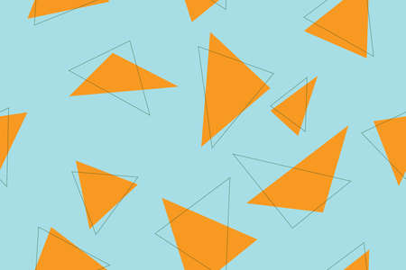 Seamless abstract background pattern made with triangle shapes in blue and orange colors. Modern and playful vector art. Illusztráció