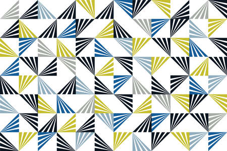 Seamless, abstract background pattern made with striped triangles in blue, green, grey and black colors. Playful, modern vector art.