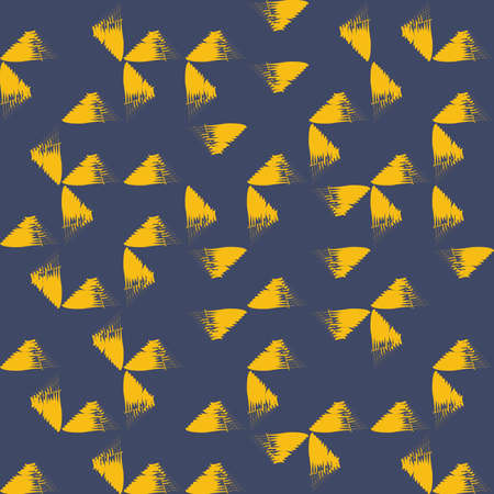 Seamless, abstract background pattern made with brush strokes forming triangle shapes. Modern, yellow vector art on dark blue background.
