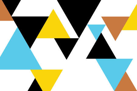 Abstract background pattern made with triangle shapes in orange, yellow, black and blue colors. Modern vector art.