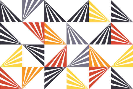 Seamless, abstract background pattern made with stripes forming triangle shapes. Playful, modern vector art. Grey, orange, yellow and black colors on white background.