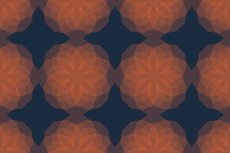 Seamless, abstract background pattern made with transparent decagon geometric shapes. Decorative, modern vector art. Orange color on dark blue background.