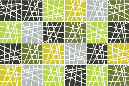 Seamless, abstract background pattern made with striped squares in tones of green color. Mosaic tile inspired vector art. Illusztráció