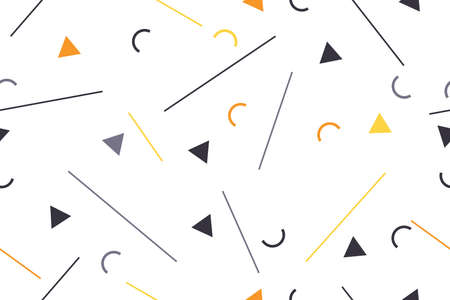 Seamless, abstract background pattern made with lines and geometric shapes. Playful, modern vector art in grey, yellow and orange colors. Illusztráció