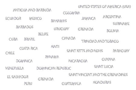 Country names of America written in water color brushes in grey color. Illusztráció