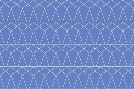 Seamless, abstract background pattern made with thin lines forming triangle and rhombus shapes. Geometric, decorative vector art in blue color.