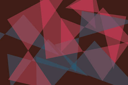 Abstract background pattern made with transparent triangle shapes in red and blue colors. Modern, contemporary vector art.