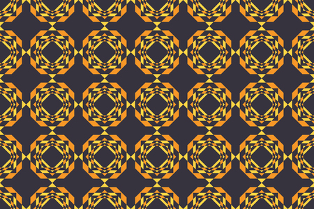 Seamless, abstract background pattern made with repeated octagon shapes in tones of gold(yellow) color. Decorative, geometric vector art.