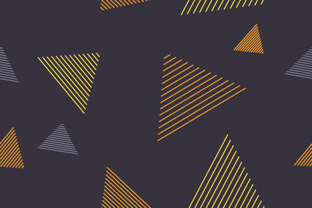 Seamless, abstract background pattern made with lines forming triangle shapes in flowing in air abstraction. Playful, modern vector art in yellow and blue colors. Illusztráció