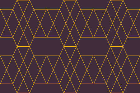 Seamless, abstract background pattern made with lines forming hexagon, rhombus and triangle shapes. Decorative, modern vector art in purple and yellow colors. Illusztráció