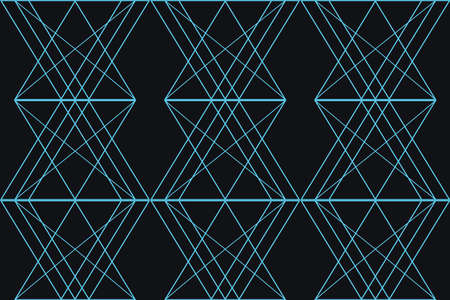 Seamless, abstract background pattern made with triangular and rhomboidal shapes in technology and future abstraction. Modern vector art in blue color.