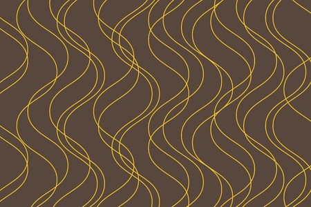 Abstract background pattern made with curvy thin lines in water  wave abstraction. Decorative, elegant vector art in gold yellow and brown colors. Ilustração