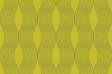 Seamless, abstract background pattern made with curvy thin lines in wave abstraction. Decorative, elegant and retro vector art in yellow color.