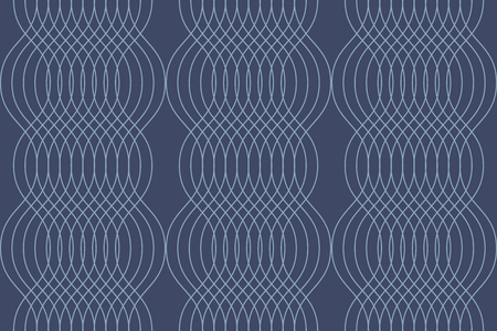 Seamless, abstract background pattern made with curvy thin lines in wave abstraction. Decorative, elegant and retro vector art in tones of blue color.