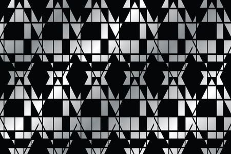 Seamless, abstract background pattern made with geometric shapes in black and silver grey colors. Bold and modern vector art. Illustration