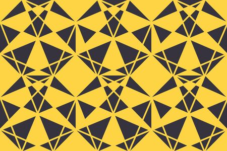 Seamless, abstract background pattern made with triangle shapes in yellow and dark blue colors. Bold, geometric and modern vector art.