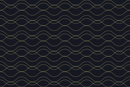 Seamless, abstract background pattern made with curvy thin lines in water  wave abstraction. Decorative, elegant vector art in yellow  green color.